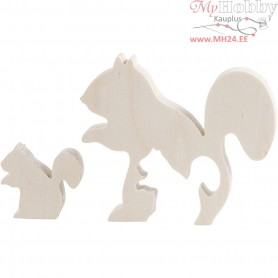 Squirrels, H: 3,5+8,5 cm, W: 4,2+10 cm, plywood, 1set, depth 1,2 cm