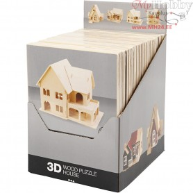 3D Wooden Construction Kit, plywood, 24pcs