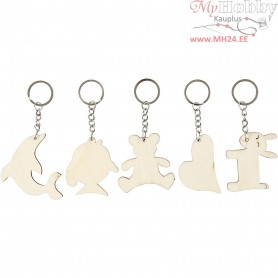 Key Hanger, size 5,5x5,5 cm, thickness 2 mm, plywood, 5pcs