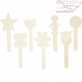 Lolly Stick Shapes, H: 15 cm, birch, 7pcs