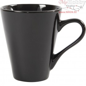 Mugs, H: 10 cm, D: 8 cm, black, 6pcs