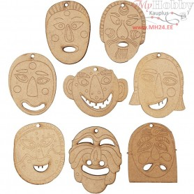 Masks, size 5,5-7 cm, thickness 4 mm, MDF, 24pcs