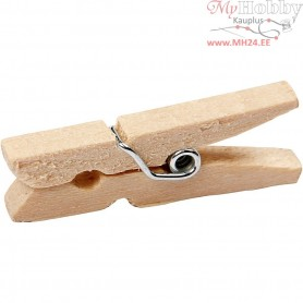 Clothes Pegs, L: 30 mm, W: 3 mm, birch, 30pcs