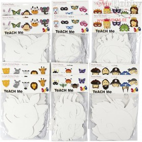 Card Masks, H: 15-22 cm, W: 24-25 cm, white, 192pcs, 230 g