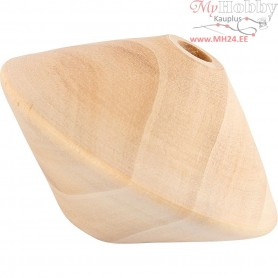 Discus-Shaped Bead, D: 63 mm, hole size 8 mm, poplar wood, 3pcs, H: 42 mm