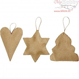 Christmas Ornaments, heart, star, christmas tree, size 8-9 cm, 9pcs