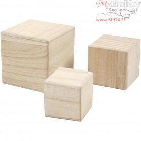 Wood cubes, size 5+6+8 cm, empress wood, 3pcs