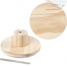 Coat Hook, round, D: 11 cm, depth 4,5 cm, pine, 1pc
