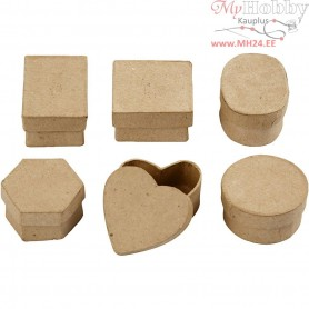 Mini Boxes, D: 4-6 cm, H: 3 cm, 6pcs