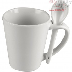 Mug with Spoon, H: 10 cm, D: 6-8,8 cm, white, 1pc