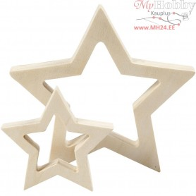 Stars, D: 9+16 cm, thickness 20 mm, plywood, 2pcs