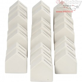 Money Houses, H: 9+12+15 cm, white, 22pcs