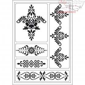 Flexible Stencil, sheet 21x14,8 cm, ornaments, 1sheet
