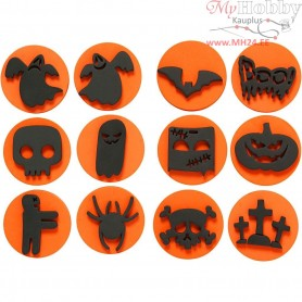 Foam Stamps, D: 7,5 cm, thickness 2,5 cm, halloween, 12mixed