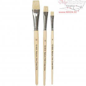 Nature Line Brushes, size 8-12-20 , short handles, 3mixed