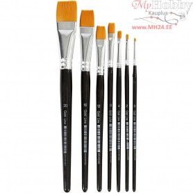 Gold Line Brushes, size 0-20 , W: 2-24 mm, flat, 7mixed