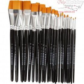 Gold Line Brushes, size 0+2+4+8+12+16+20 , W: 2-24 mm, flat, 30mixed