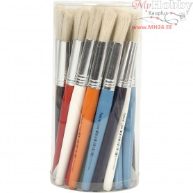 Kids Paint Brushes, W: 15 mm, L: 19 cm, round, 30pcs