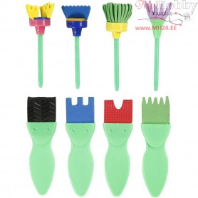 EVA Foam Paint Brushes, W: 30-45 mm, L: 11-13 cm, 24mixed