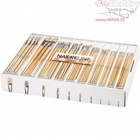 Nature Line Brushes, size 00-22 , long handles, 120mixed
