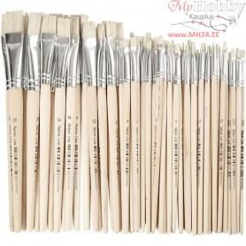 Nature Line Brushes, size 00-20 , W: 3-20 mm, short handles, 68mixed