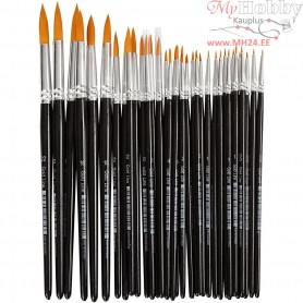 Gold Line Brushes, size 0+1+2+4+8+12+18+22 , W: 1,5-8 mm, round, 36mixed