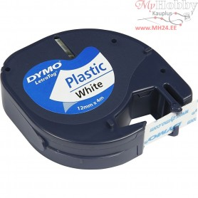 DYMO Plastic Tape, W: 12 mm, L: 4 m, white, 4m
