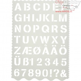 Shape Template, sheet 21x29 cm, H: 2,6 cm, letters and numbers, 1pc