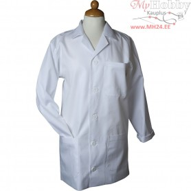 Painting Apron, size small , L: 78 cm, white, Sleeve Length: 58 cm , 1pc