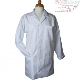 Painting Apron, size medium , L: 81 cm, white, Sleeve Length: 59 cm , 1pc