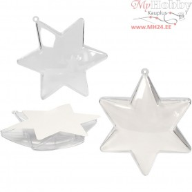 Decoration Star, H: 10 cm, transparent, 5pcs