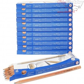 School Pencils, L: 18 cm,  2 mm lead, HB grade, 12x12pcs, thickness 7 mm