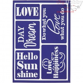 Flexible Stencil , sheet 21x14,8 cm, hello sunshine, 1pc