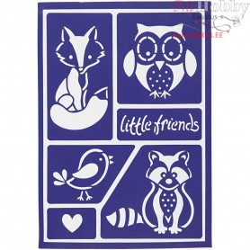 Flexible Stencil , sheet 21x14,8 cm, little friends, 1pc