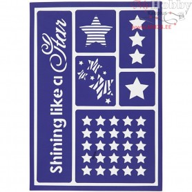 Flexible Stencil , sheet 21x14,8 cm, shining like a star, 1pc