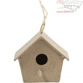 Mini Bird Boxes, H: 5 cm, 4pcs