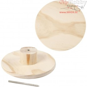 Coat Hook, round, D: 15 cm, depth 4,5 cm, pine, 1pc
