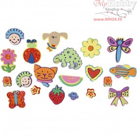Foam Stamps, size 3-9 cm, thickness 7 mm, 20mixed
