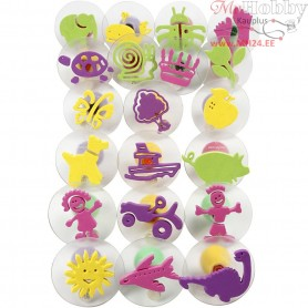 Foam Stamps With Handle, D: 4-6 cm, 20mixed