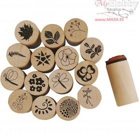 Deco Art Stamps, D: 20 mm, H: 26 mm, flower and leaf, 15mixed