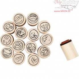 Deco Art Stamps, D: 20 mm, H: 26 mm, smiley, 15mixed