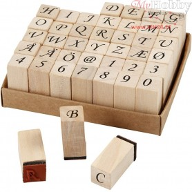 Wooden Stamps Set, size 13x13 mm, H: 32 mm, 42mixed