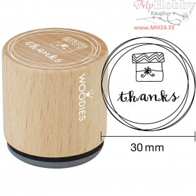 Wooden Stamp, D: 30 mm, H: 35 mm, thanks, 1pc