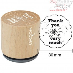 Wooden Stamp, D: 30 mm, H: 35 mm, Thank you very much, 1pc