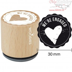 Wooden Stamp, D: 30 mm, H: 35 mm, We're engaged, 1pc