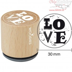 Wooden Stamp, D: 30 mm, H: 35 mm, Love, 1pc