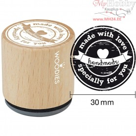 Wooden Stamp, D: 30 mm, H: 35 mm, made with love specially for you, 1pc