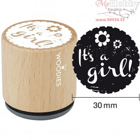Wooden Stamp, D: 30 mm, H: 35 mm, It's a girl, 1pc