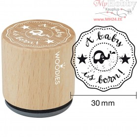 Wooden Stamp, D: 30 mm, H: 35 mm, A baby is born, 1pc