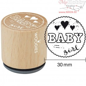 Wooden Stamp, D: 30 mm, H: 35 mm, Baby girl, 1pc